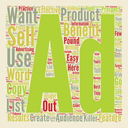 How To Pound Out Killer Ads That Get Results text background word cloud concept Illustration