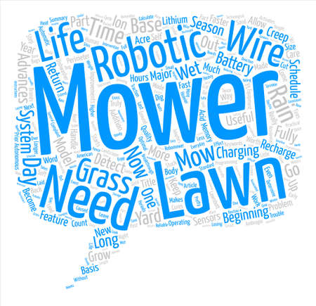 mowers: Improvements in Robotic Lawn Mowers Word Cloud Concept Text Background