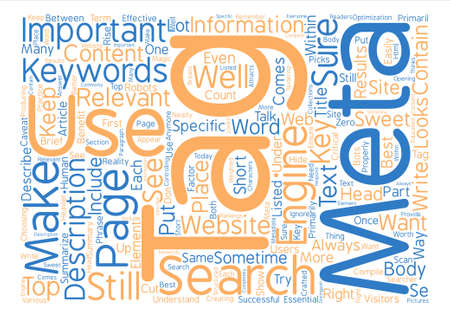 meta: The Use Of Meta Tags Are Important text background word cloud concept