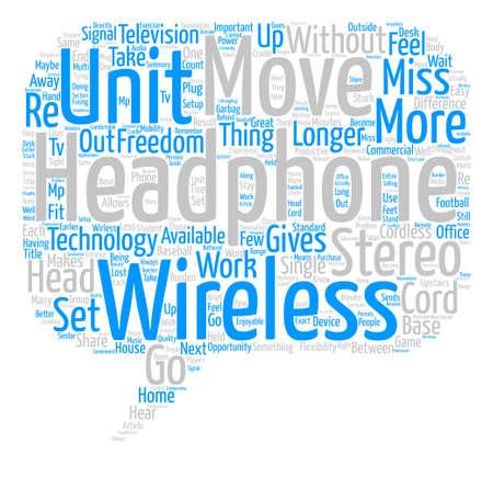 무선 Wirless 헤드폰의 차이 텍스트 배경 단어 구름 개념