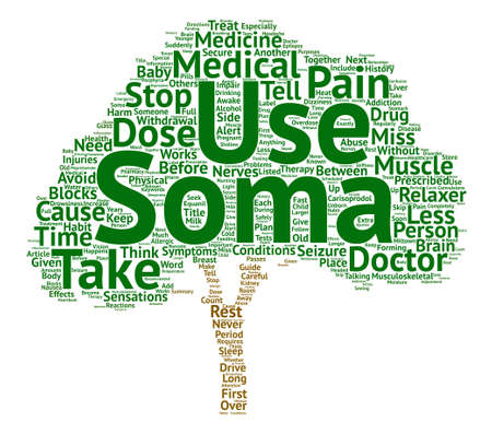 Soma blocks pain sensations between the nerves and the brain text background word cloud concept Illustration