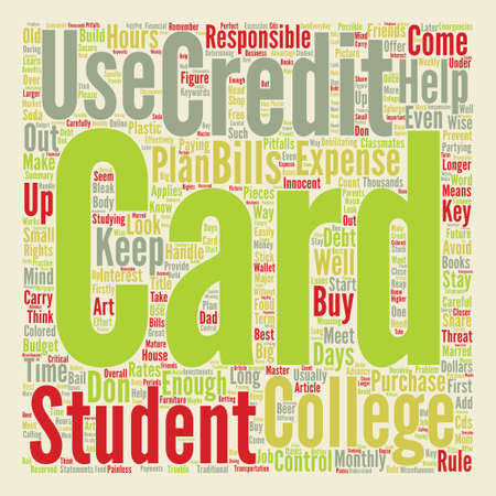 Keep College Student Credit Cards Under Control Word Cloud Concept Text Background