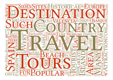 flocking: Top Travel Destinations In Spain text background word cloud concept Illustration