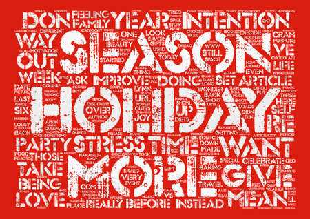 Holiday Intentions text background word cloud concept Illustration