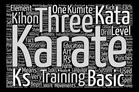 kumite: Kihon Kata And Kumite The Three KS Of Karate Word Cloud Concept Text Background