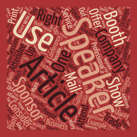 Speaker Partnership Offers Trade Show Value text background word cloud concept