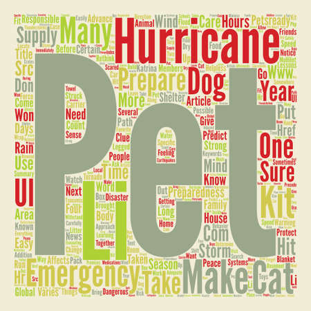 Hurricane Pet Preparedness Word Cloud Concept Text Background