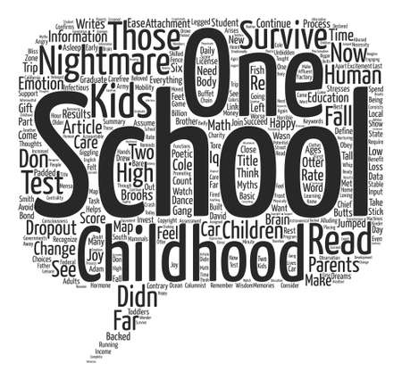 Myths to the Contrary Childhood is a Nightmare text background word cloud concept Illustration