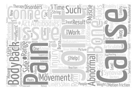 Joints and connective tissues and back pain text background word cloud concept