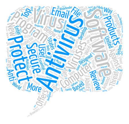 Top Ten programmi software antivirus Riconosciuto il concetto di nube parola di sfondo del testo