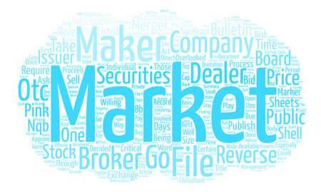 Market Makers spelen een belangrijke rol in Reverse Fusies tekst achtergrond word cloud concept Stock Illustratie