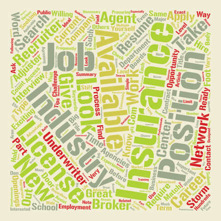 How to Find a Job in Insurance text background word cloud concept Illustration