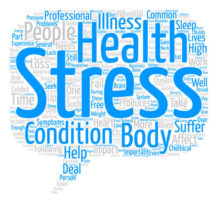 Stress and Your Health text background word cloud concept Illustration
