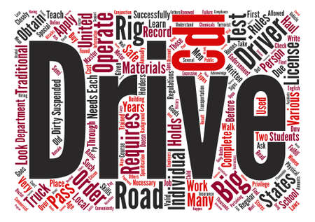 conveniently: The Requirements to Operate a Big Rig in the United States Word Cloud Concept Text Background