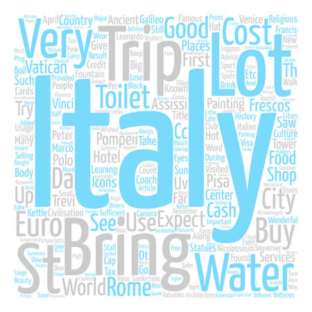 Our Trip To Italy April text background word cloud concept