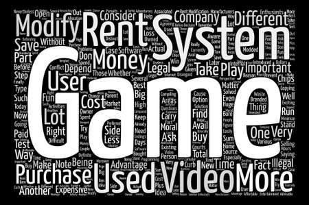 depend: Used game systems text background word cloud concept Illustration