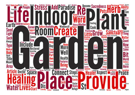 The Garden As Healer text background word cloud concept Illustration