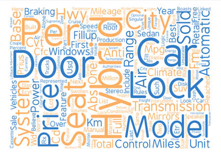 commercially: Hybrid cars models text background word cloud concept Illustration