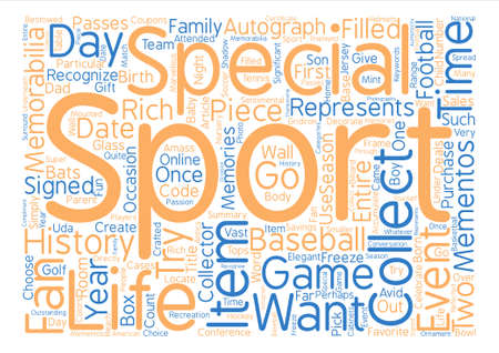Sports Memorabilia Collectible Items Word Cloud Concept Text Background
