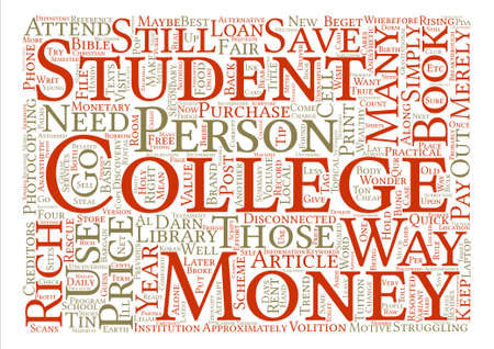 darn: How To Save Money While At College Word Cloud Concept Text Background