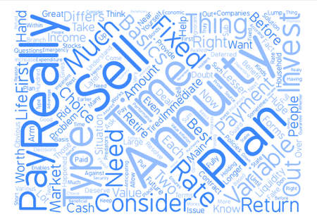 annuity: Sell annuities Word Cloud Concept Text Background