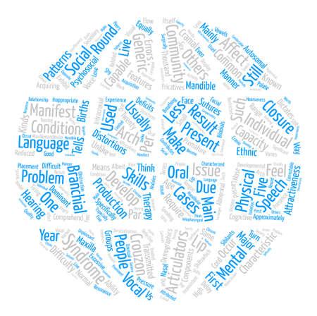 Crouzon 증후군에 의해 제시된 언어 및 언어 문제 Word 클라우드 개념 텍스트 배경 스톡 콘텐츠 - 73962568