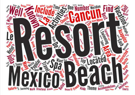 next year: Top Rated Mexico Beach Resorts Word Cloud Concept Text Background
