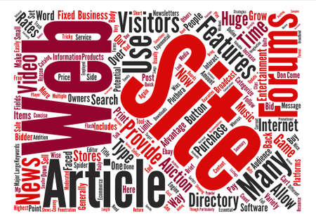Types of Web Site Features Word Cloud Concept Text Background