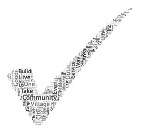 It Takes a Village text background word cloud concept