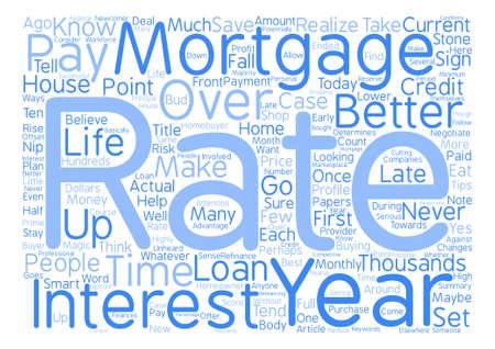 Het is nooit te laat om een beter tarief te krijgen op uw hypotheek tekst achtergrond word cloud concept
