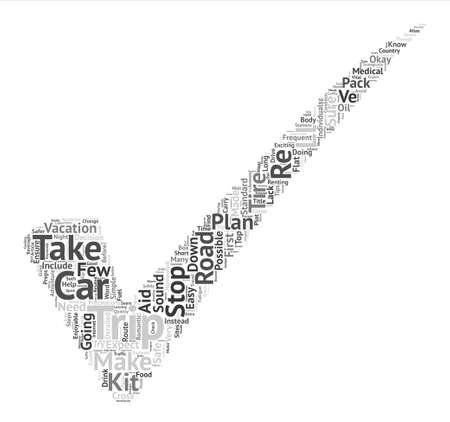 safer: Trip Preps Seven Easy Steps To A Safer Road trip text background word cloud concept Illustration