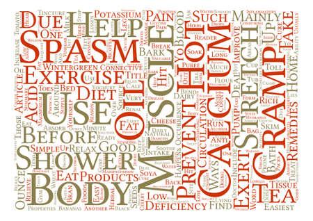 Remedios caseros para espasmos musculares y calambres concepto de nube de word de fondo de texto Ilustración de vector