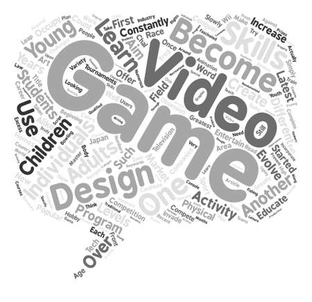 invade: The Art Of Video Game Design text background word cloud concept Illustration