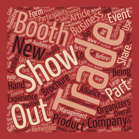 Trade Show Tactics Revealed text background word cloud concept Illustration