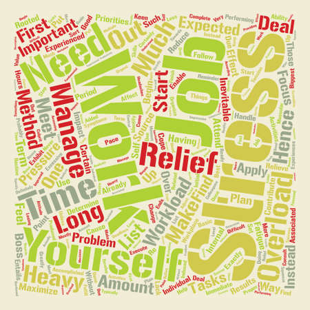 Stress Relief for Work Overload text background word cloud concept