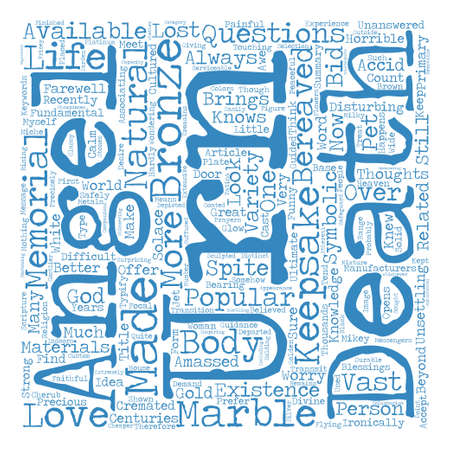 disturbing: The Popularity Of Angel Urns And Keepsakes text background word cloud concept Illustration