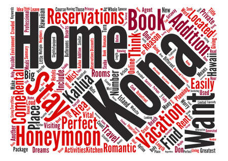 Kona Homes Perfect For Honeymooners text background word cloud concept