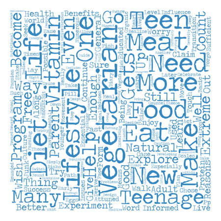 involving: The Teenage Vegetarian Word Cloud Concept Text Background Illustration