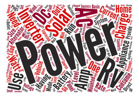 converts: RV Solar Inverters Word Cloud Concept Text Background