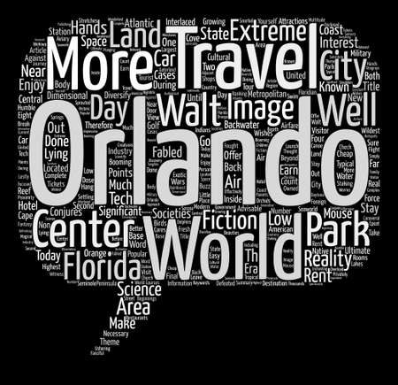 Travel to Orlando Worlds Beyond Walt s Wildest Wishes text background word cloud concept 向量圖像