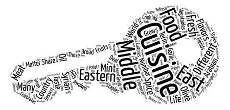 Middle Eastern Cuisine Word Cloud Concept Text Background