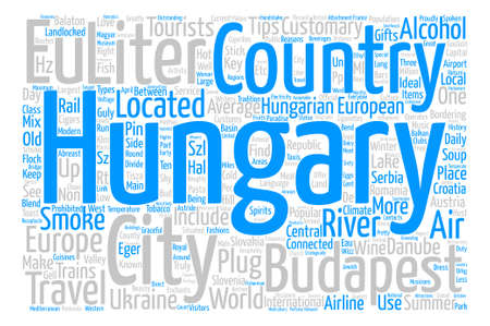 landlocked country: Hungary Word Cloud Concept Text Background Illustration