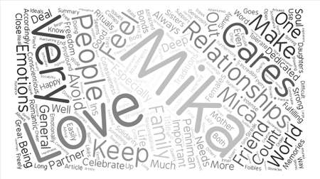 The Ins And Outs Of Mika s Relationships text background word cloud concept