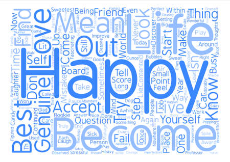 How to be genuinely happy Word Cloud Concept Text Background