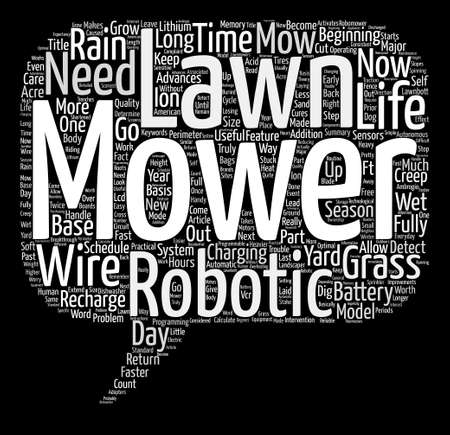 mowers: Improvements in Robotic Lawn Mowers text background word cloud concept