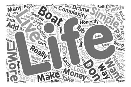 Comment vivre une vie simple text background word cloud concept