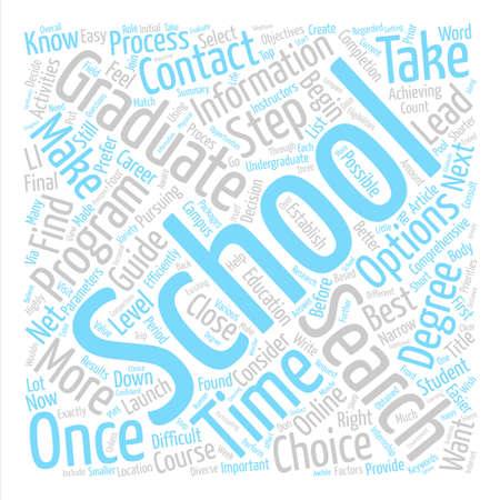 Steps To Guide Your Graduate School Search text background word cloud concept