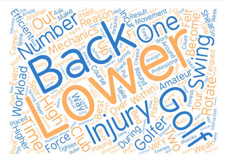 incur: The Best Way To Eliminate Lower Back Injuries In Golf text background word cloud concept Illustration