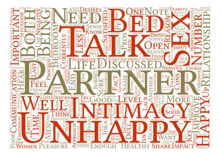 Ongelukkig in bed zou u met uw partner Word Cloud Concept Text Background moeten spreken