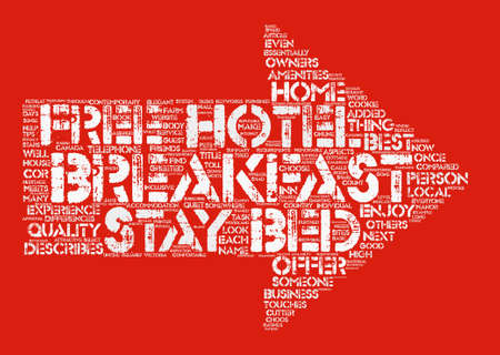 The Bed And Breakfast Experience text background word cloud concept Illustration